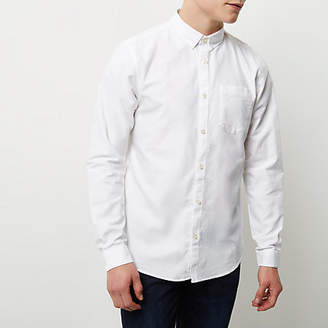 River Island Mens White long sleeve Oxford shirt