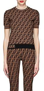 Fendi Women's Logo Knit Top - Brown