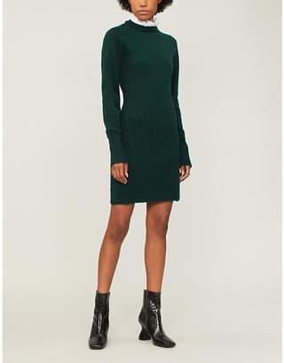 Sandro Ruffle-neck wool-blend dress