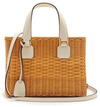 Mark Cross Manray Small Wicker Basket Bag - Womens - Ivory Multi