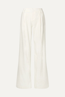 Alice + Olivia Eric Linen-blend Wide-leg Pants