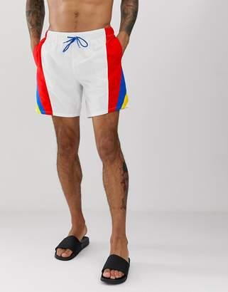 Asos Design DESIGN Swim Shorts With Retro Color Side Stripes Mid Length