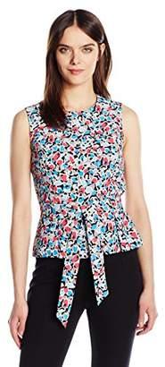 Nine West Women's Printed Sleevless Blouse W/Tie Waist Detail
