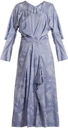 Loewe Floral-jacquard draped satin dress