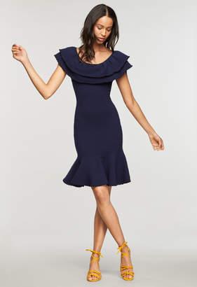 Milly TEXTURED FLOUNCE DRESS