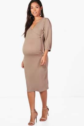 boohoo Maternity Wrap Front Side Tie Dress