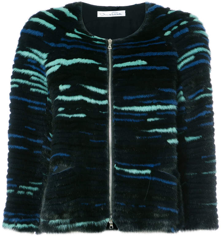 Oscar de la Renta striped fur jacket