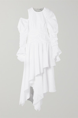Loewe Cutout Ruffled Cotton And Linen-blend Maxi Dress - White