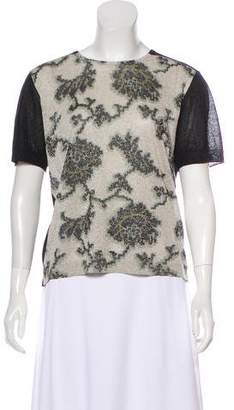 Dries Van Noten Short Sleeve Metallic Blouse