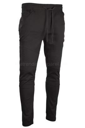 Moto Trending Apparel NWT Men Twill Biker Jogger Pants Slim Elastic Harem Stacked Jeans Denim (L, )