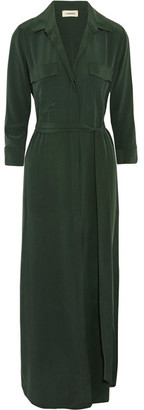 L'Agence - Cameron Washed-silk Shirt Dress - Dark green $545 thestylecure.com