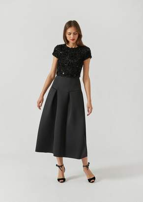 Emporio Armani Dress With Embroidered Fabric And Flared Skirt With Flounce Details