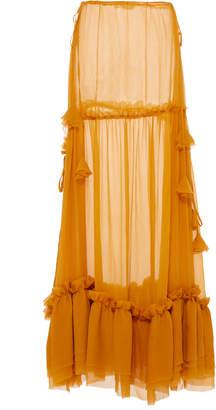 Agua de Coco High Waisted Sheer Maxi Skirt