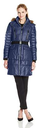 Marc New York by Andrew Marc Women's Addy Block Belted Puffer Coat $43.81 thestylecure.com