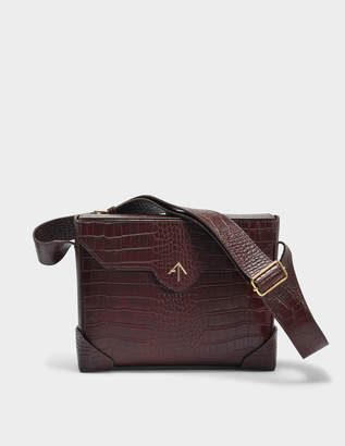 Atelier Manu Bold Bag in Reddish Brown Croc Print Calfskin