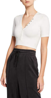 Alexander Wang V-Neck Snap-Front Short-Sleeve Cropped Jersey Top
