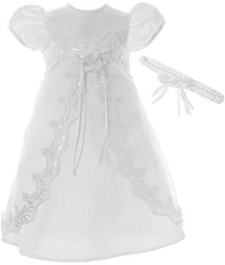 Keepsake Short-Sleeve Christening Dress and Headband - Baby Girls