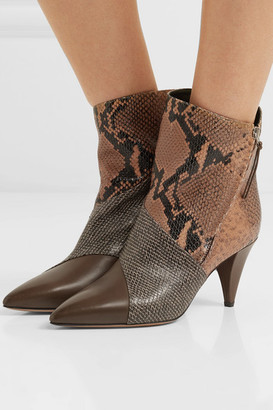 Isabel Marant Latts Paneled Snake-effect Leather Ankle Boots - Snake print