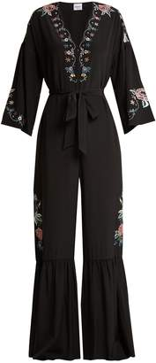 Vilshenko Ailayah floral-embroidered silk jumpsuit