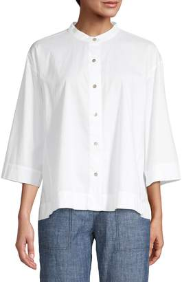 Eileen Fisher Wide-Fit Mandarin Collar Blouse
