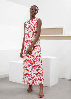 And other stories Open Tie Back Midi Dress