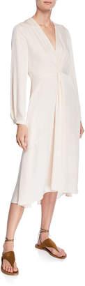 Vince V-Neck Long-Sleeve Twisted Drape Dress