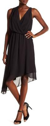 Haute Hippie Asymmetrical Hem Surplice Neck Dress