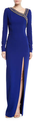 Pamella Roland Asymmetric Embroidered Neckline Long-Sleeve Stretch-Crepe Column Gown