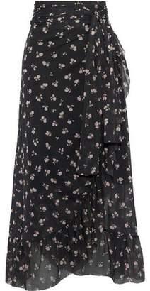 Ganni Tilden Floral-Print Mesh Midi Wrap Skirt