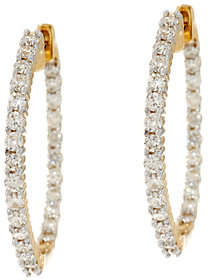 Affinity Diamond Jewelry Round Diamond Inside Out Hoop Earrings, 14K,1cttw, Affinity