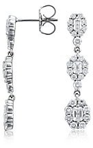 Round and Emerald Cut Drop Diamond Earrings in 18k White Gold (2 ct.tw.)