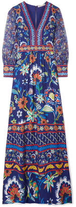 Alice + Olivia Alice Olivia - Jaida Embroidered Crepe And Silk-chiffon Maxi Dress - Blue