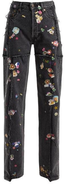 Sticker Mid Rise Straight Leg Jeans - Womens - Dark Grey
