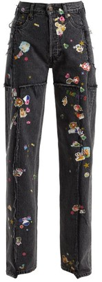 Vetements Sticker Mid Rise Straight Leg Jeans - Womens - Dark Grey