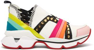 Christian Louboutin 123 Run Studded Low Top Trainers - Womens - White Multi