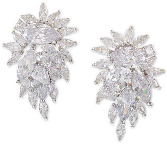 Nina Silver-Tone Crystal Cluster Drop Earrings