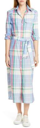 Polo Ralph Lauren Long Sleeve Plaid Cotton Shirtdress
