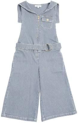 Chloé Striped Stretch Cotton Denim Jumpsuit