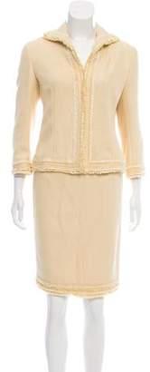 Lafayette 148 Fringe-Trimmed Tweed Skirt Suit