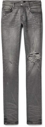 Amiri Skinny-Fit Distressed Glittered Stretch-Denim Jeans
