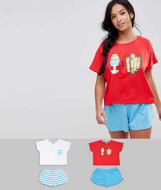 Asos 2 Pack Egg And Soldiers Tee And Short Pyjama Set