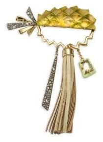 Alexis Bittar Lucite & Leather Tassel Pineapple Pin
