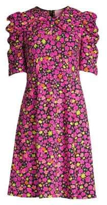 Kate Spade Women's Marker Floral Puff-Sleeve Dress - Black - Size 0
