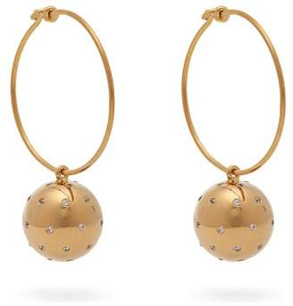 Theodora Warre - Gold Plated Ball And Hoop Earrings - Womens - Gold