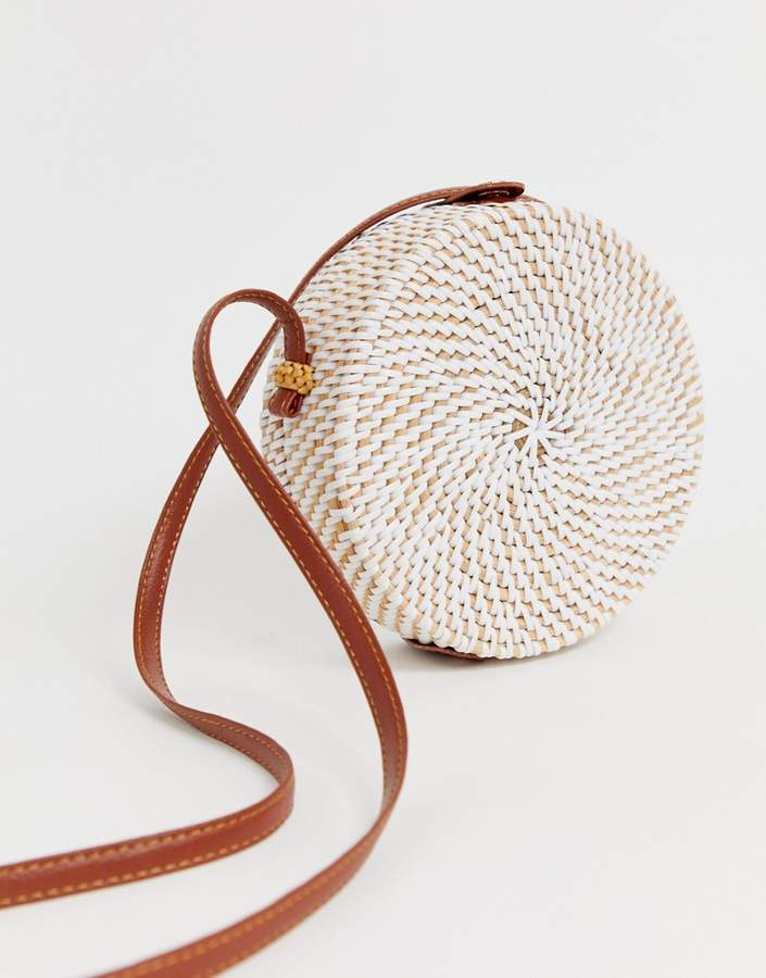 Asos Design ASOS DESIGN structured rattan circle bag with white weave