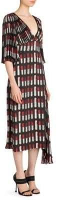 Prada Plisse Lipstick-Print Midi Dress