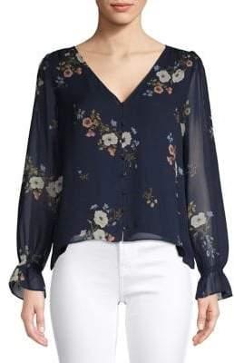 Joie Floral-Print V-Neck Silk Top