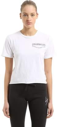 La Crest Cropped Cotton Jersey T-Shirt