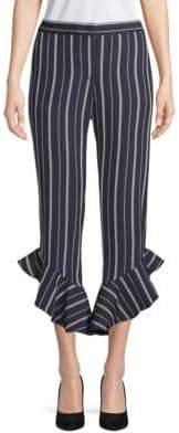 Saks Fifth Avenue Stripe Ruffled Cuff Pants
