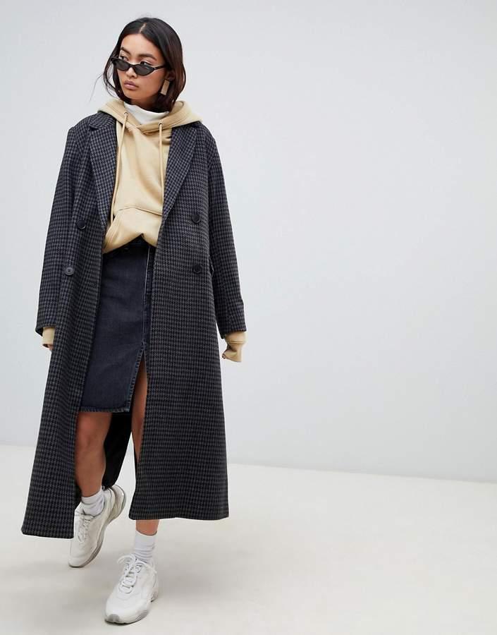 Long Wool Check Coat